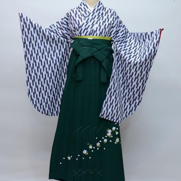 二尺袖 着物袴 フルセット 矢羽柄 紺色 卒業式 新品 (株)安田屋 NO23491_画像1