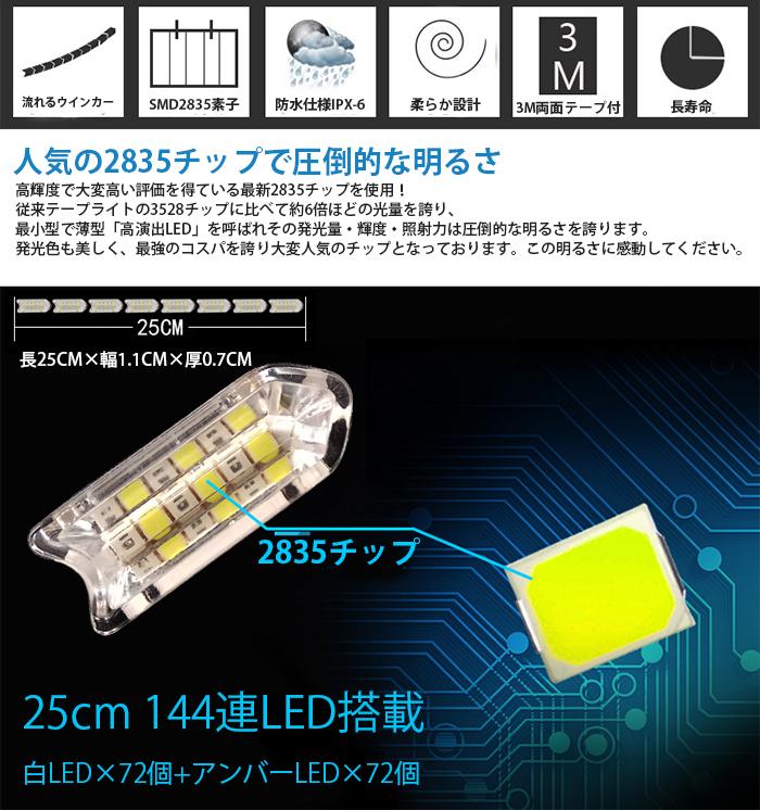 強力発光/やわらか設計★流れる LED ウインカー/デイライト/シーケンシャル 25CM LEDテープアイライン 正面発光 ホワイト/アンバー 2本セッ_画像2