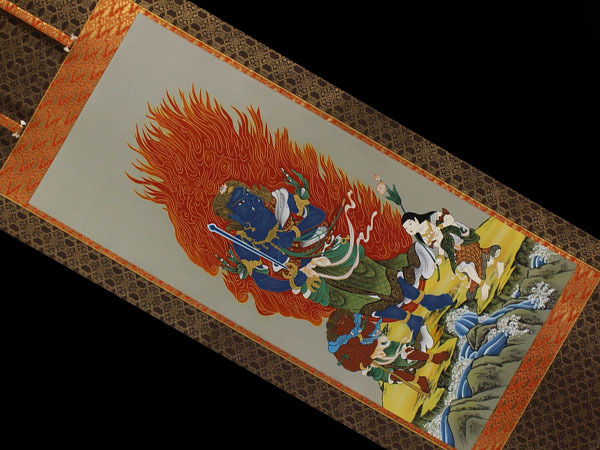 【肉筆】仏画【不動明王】◆絹本◆合箱◆二重箱◆掛軸 y03125_画像2