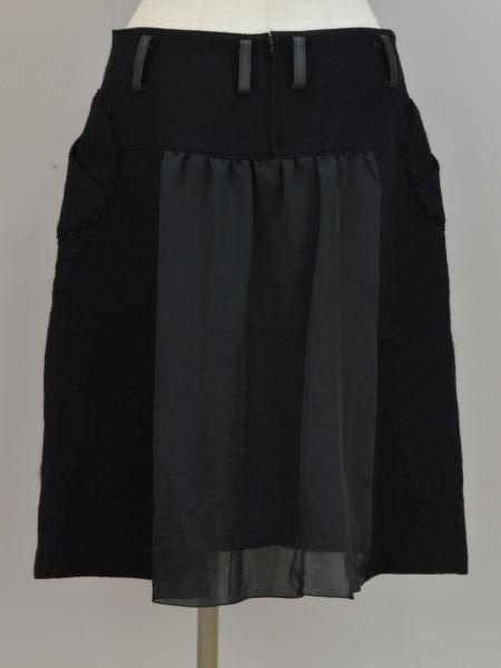 アルベロベロ ALBEROBELLO オレボレブラ OLLEBOREBLA うさぎさんパッチワーク刺繍 ウール スカート ブラック レディース F-M10631_画像2