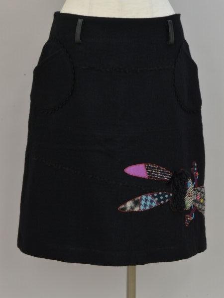 アルベロベロ ALBEROBELLO オレボレブラ OLLEBOREBLA うさぎさんパッチワーク刺繍 ウール スカート ブラック レディース F-M10631_画像1