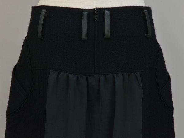 アルベロベロ ALBEROBELLO オレボレブラ OLLEBOREBLA うさぎさんパッチワーク刺繍 ウール スカート ブラック レディース F-M10631_画像5
