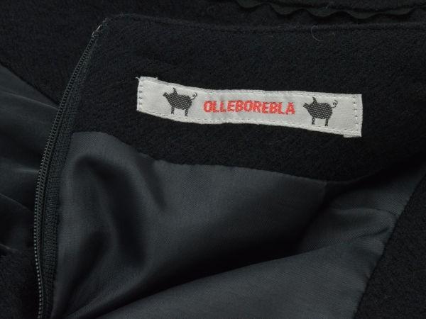 アルベロベロ ALBEROBELLO オレボレブラ OLLEBOREBLA うさぎさんパッチワーク刺繍 ウール スカート ブラック レディース F-M10631_画像6