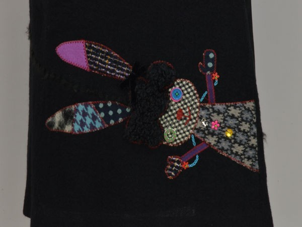 アルベロベロ ALBEROBELLO オレボレブラ OLLEBOREBLA うさぎさんパッチワーク刺繍 ウール スカート ブラック レディース F-M10631_画像4
