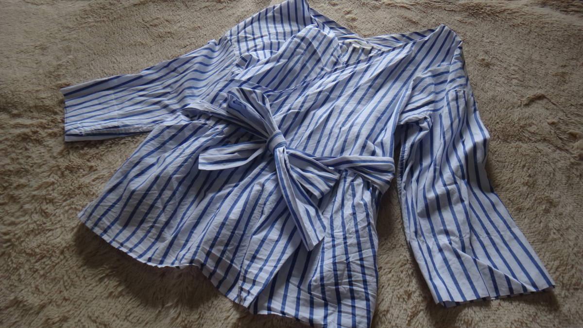 ★niko and... 美品 カシュクールwリボン長袖シャツ★白x水色系