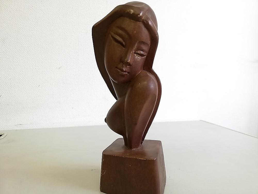 【お買い得!】 ★ 木製 女性 胸像 ★ 工芸品 彫刻 木彫 オブジェ インテリア コレクション 置物