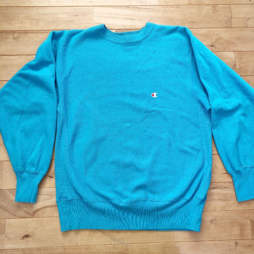 チャンピオン champion リバース スウェット ターコイズ パーカ ビンテージ Tシャツ アメリカ製 USA リバースウェーブ