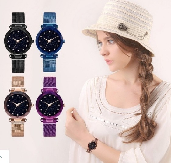 M11 星空女性腕時計ローズゴールドブレスレットラインストーンクォーツレディース腕時計薄鋼鉄女性ウエストウォッチ_画像7