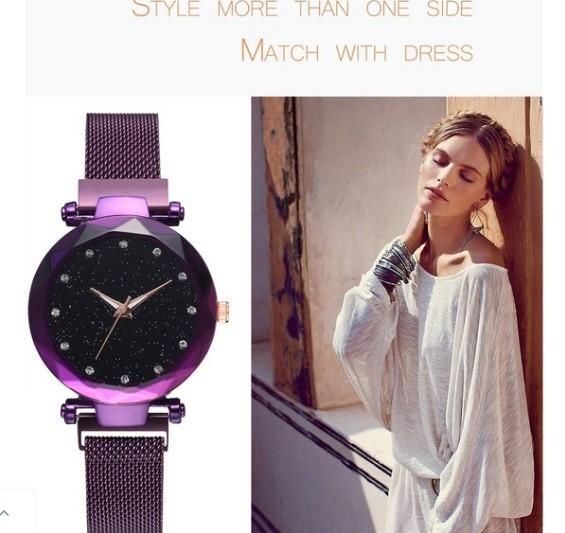 M11 星空女性腕時計ローズゴールドブレスレットラインストーンクォーツレディース腕時計薄鋼鉄女性ウエストウォッチ_画像8