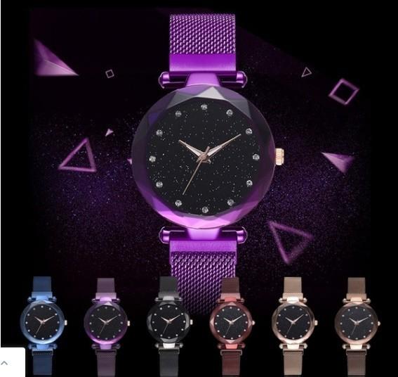 M11 星空女性腕時計ローズゴールドブレスレットラインストーンクォーツレディース腕時計薄鋼鉄女性ウエストウォッチ_画像2