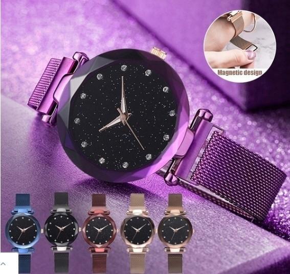 M11 星空女性腕時計ローズゴールドブレスレットラインストーンクォーツレディース腕時計薄鋼鉄女性ウエストウォッチ_画像1