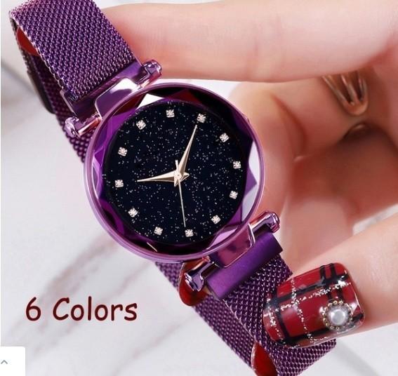 M11 星空女性腕時計ローズゴールドブレスレットラインストーンクォーツレディース腕時計薄鋼鉄女性ウエストウォッチ_画像3