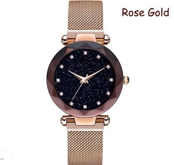 M11 星空女性腕時計ローズゴールドブレスレットラインストーンクォーツレディース腕時計薄鋼鉄女性ウエストウォッチ_画像5