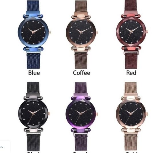 M11 星空女性腕時計ローズゴールドブレスレットラインストーンクォーツレディース腕時計薄鋼鉄女性ウエストウォッチ_画像6