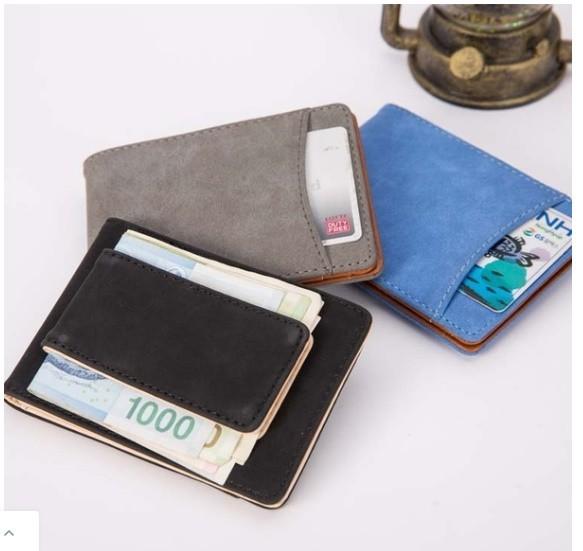 マットレザーマグネットウォレットバックル女性の財布多機能カードバッグ_画像1