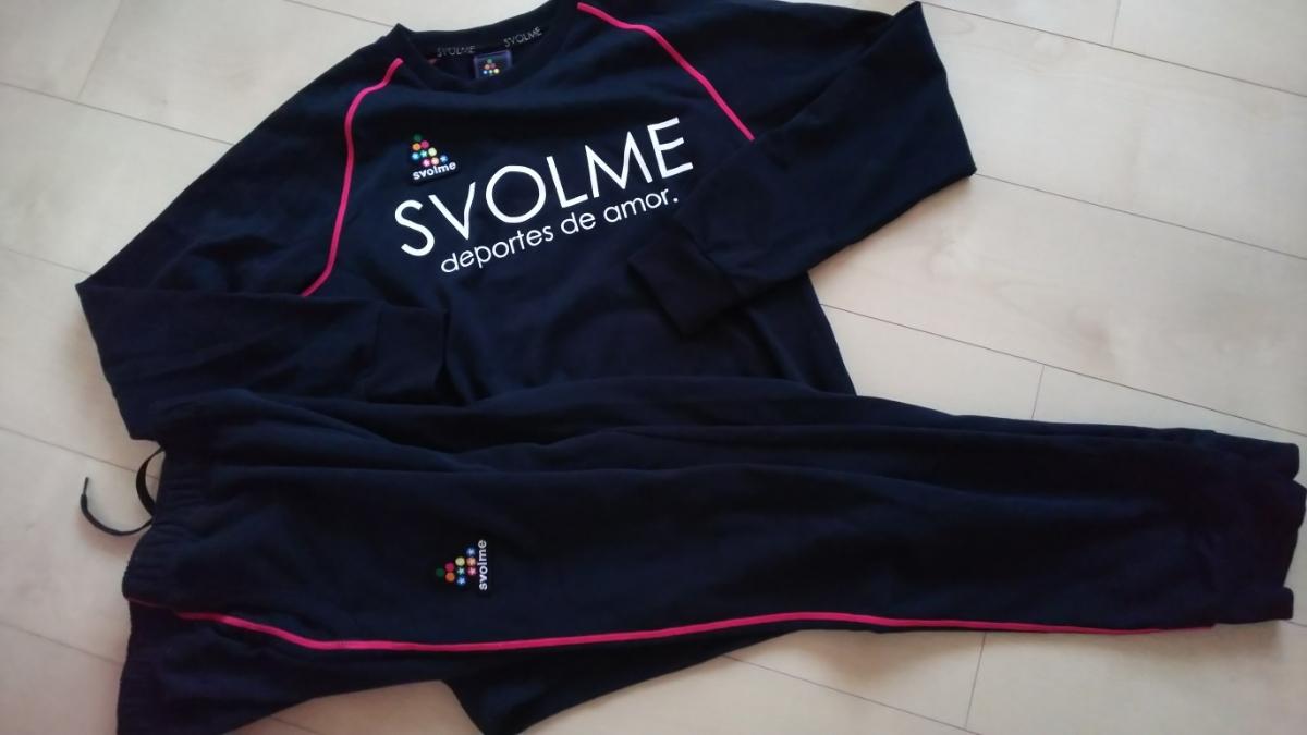 美品!スボルメ SVOLME ジャージ スウェット上下セット!紺×ピンクライン 160cm バックプリントが可愛い!