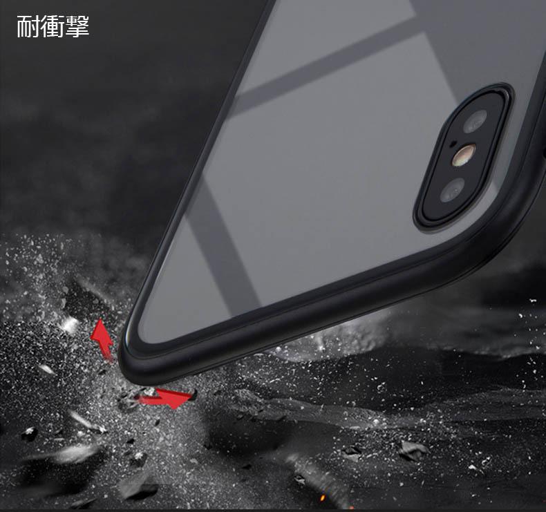 iPhone 3色 ケース カバー アルミバンパー 強化ガラス 全面保護 耐衝撃 おしゃれ 【7/8 Plus X/XS XR MAX】_画像4