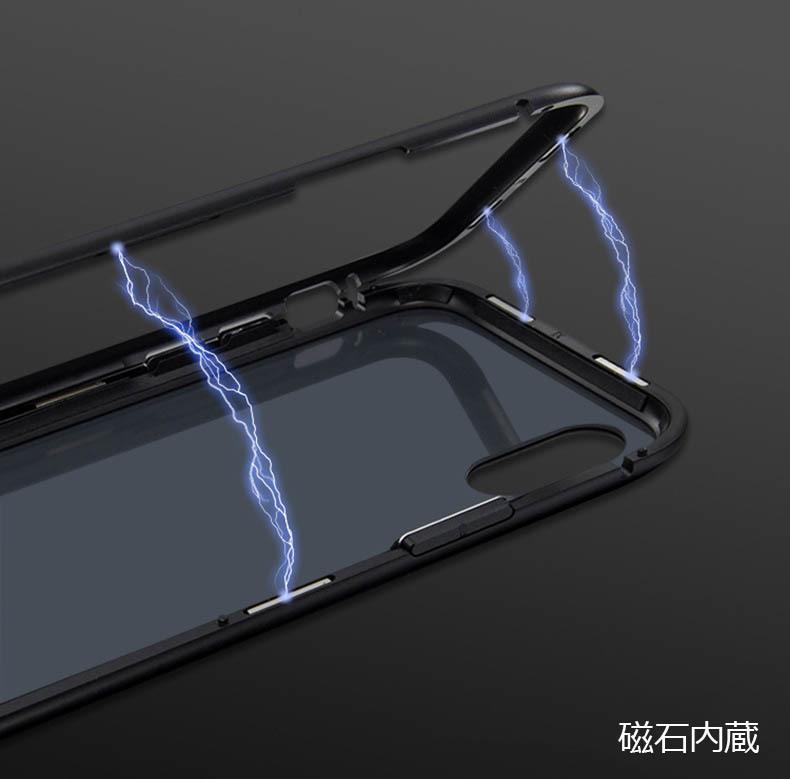 iPhone 3色 ケース カバー アルミバンパー 強化ガラス 全面保護 耐衝撃 おしゃれ 【7/8 Plus X/XS XR MAX】_画像3
