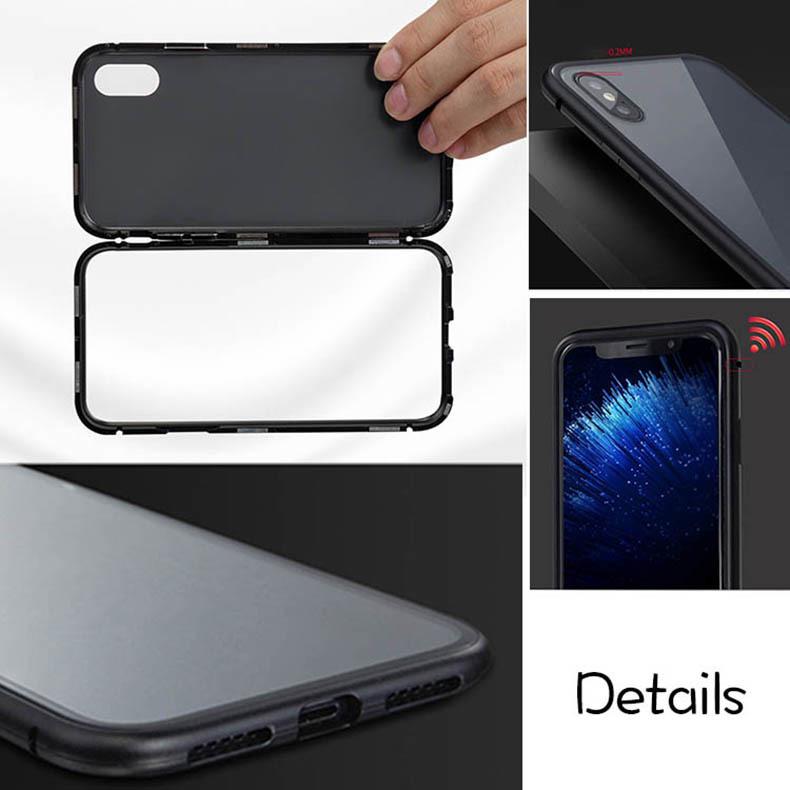 iPhone 3色 ケース カバー アルミバンパー 強化ガラス 全面保護 耐衝撃 おしゃれ 【7/8 Plus X/XS XR MAX】_画像7