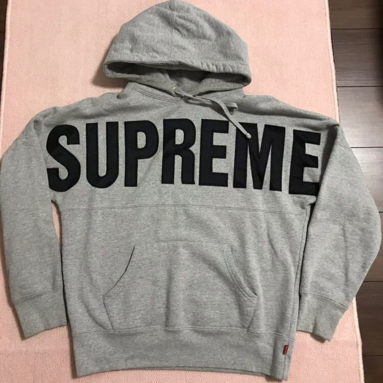 Supreme Banner Logo Hoodie Pullover パーカー グレー Hooded Sweatshirt  14aw