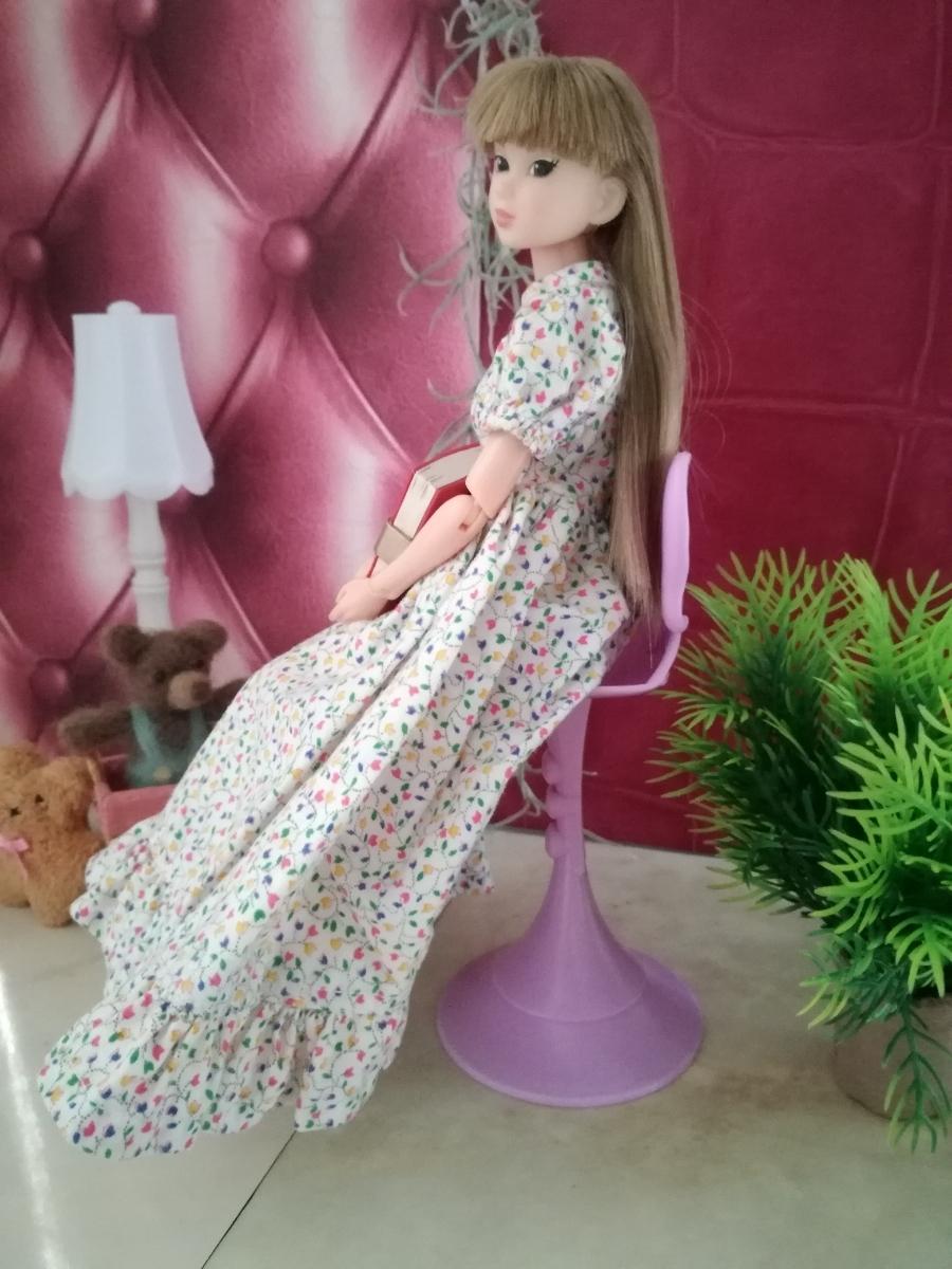 複数有 人形用小物 パープル リボン 椅子 いす イス チェア 人形用 バービー ジェニー momoko 27cmドール 1/6サイズドール_画像7