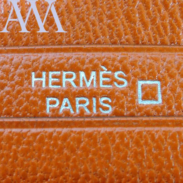 【HERMES エルメス】 ベアンスフレ クロコダイル アリゲーターマット シルバー金具 □R刻印 オレンジ 財布【新品】_画像5