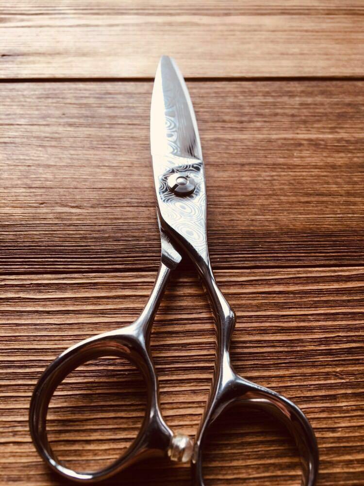 6インチ ダマスカス柄 スライドシザー カットシザー 理容 美容 新品 理容師 美容師 プロ用 スライドカット 鋏 はさみ ハサミ シザーバッグ_画像5
