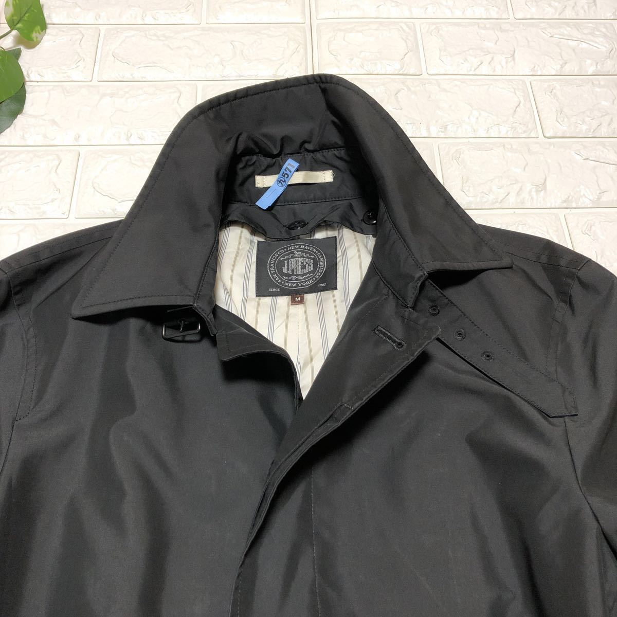 ★ジェイプレス/美品!クリーニング済/ライナー付★J.PRESS ステンカラー コート ロング丈 比翼仕立て ブラック M メンズ_画像5