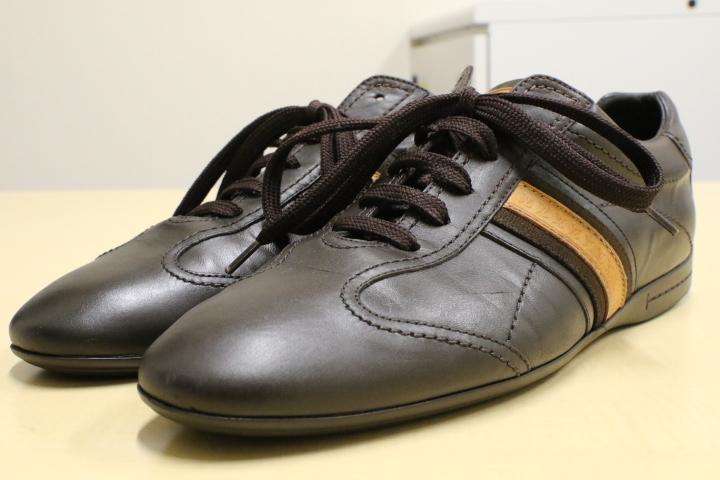 LV ルイ・ヴィトン レザーシューズ レザースニーカー LOUIS VUITTON ドライビングシューズ メンズ 本革 靴 革靴 茶 ブラウン 5 (24.5)_画像1