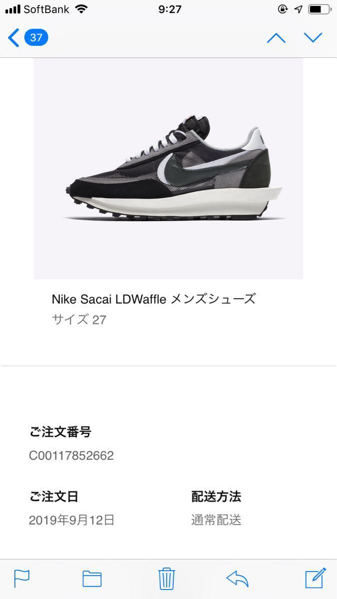[27cm] SNKRS 当選品 SACAI x NIKE LD WAFFLE BLACK 新品_画像2