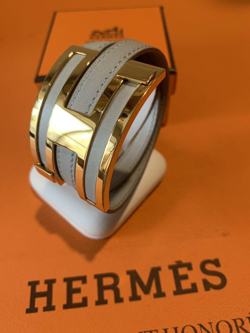 送料安!HERMES 【プスプス】レザー×ゴールド ブレスレット バングル 薄グレー 新品同様!_画像5