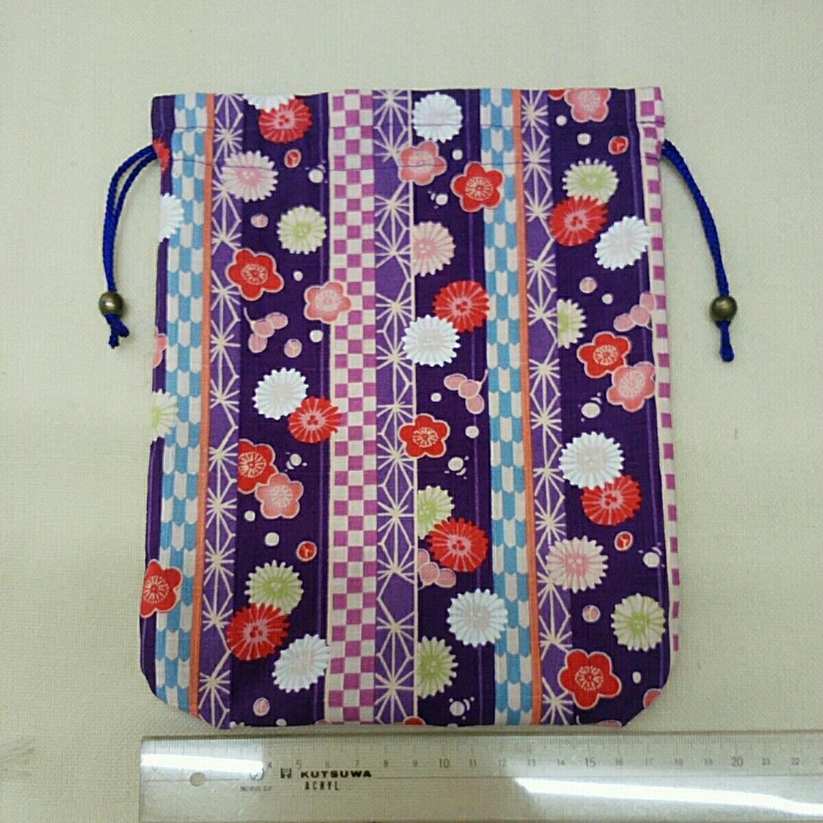 *手作り*和風巾着:和調花柄菊と梅:紫色:外国の方へのお土産などに_画像2