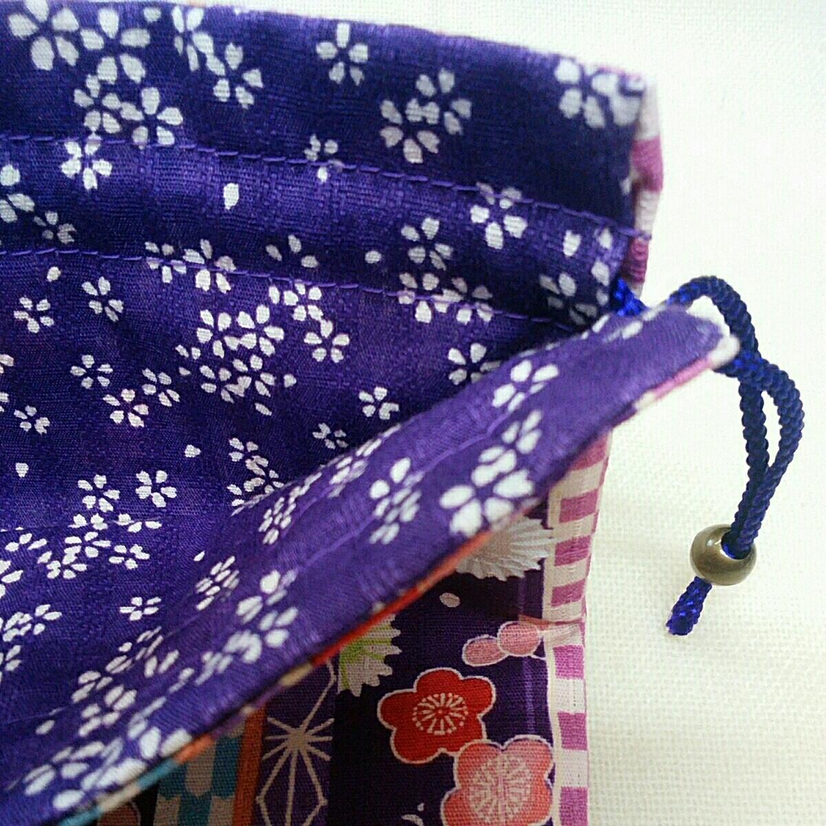 *手作り*和風巾着:和調花柄菊と梅:紫色:外国の方へのお土産などに_画像3