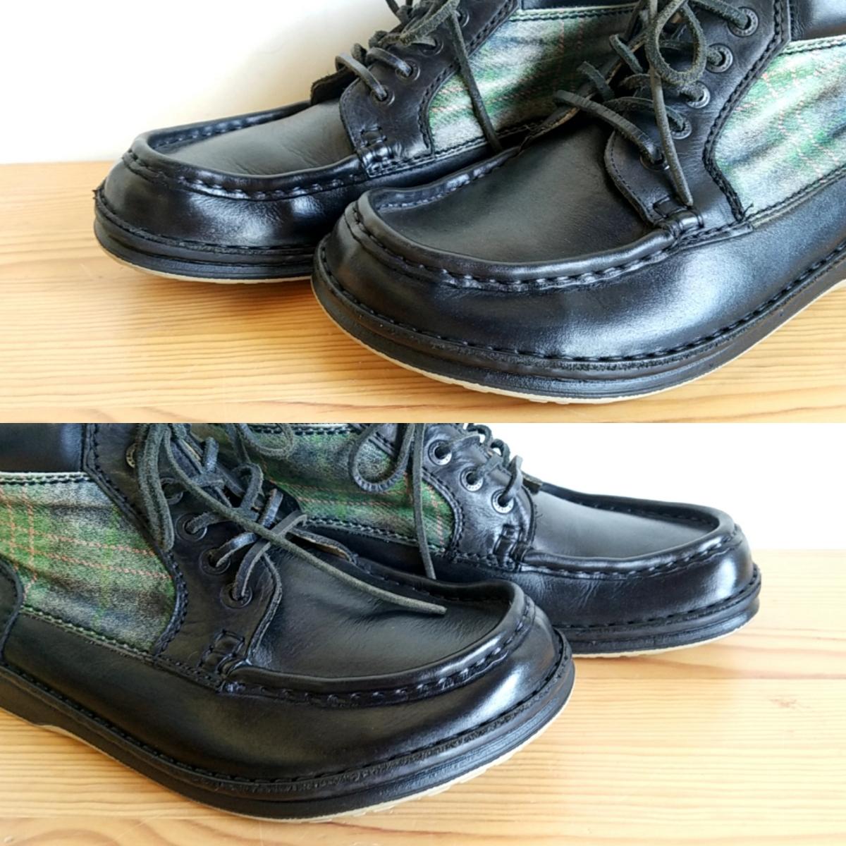 421◆ビルケンシュトック BIRKENSTOCK フットプリンツ footprints パサデナ ハイ size 41 26.5cm 黒×緑 チェック柄 中古 USED_画像9
