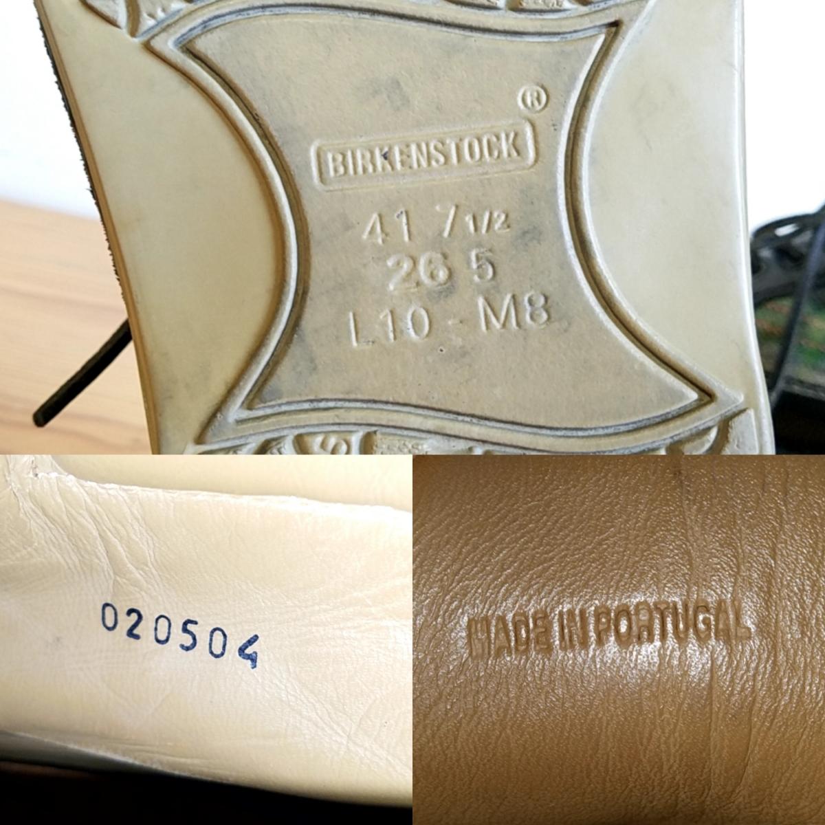 421◆ビルケンシュトック BIRKENSTOCK フットプリンツ footprints パサデナ ハイ size 41 26.5cm 黒×緑 チェック柄 中古 USED_画像8