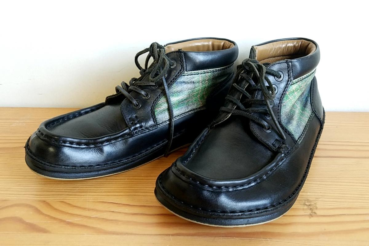 421◆ビルケンシュトック BIRKENSTOCK フットプリンツ footprints パサデナ ハイ size 41 26.5cm 黒×緑 チェック柄 中古 USED_画像1