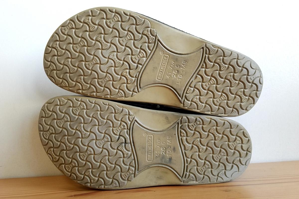 421◆ビルケンシュトック BIRKENSTOCK フットプリンツ footprints パサデナ ハイ size 41 26.5cm 黒×緑 チェック柄 中古 USED_画像6