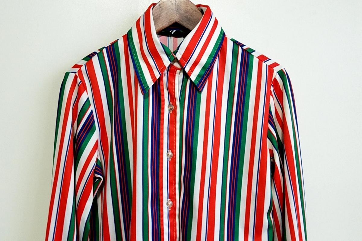 T05★【送料無料】70s JACK WINTER 長袖 ポリシャツ ストライプ 赤 白 青 緑 vintage ヴィンテージ 古着 USED 中古 0001_画像2