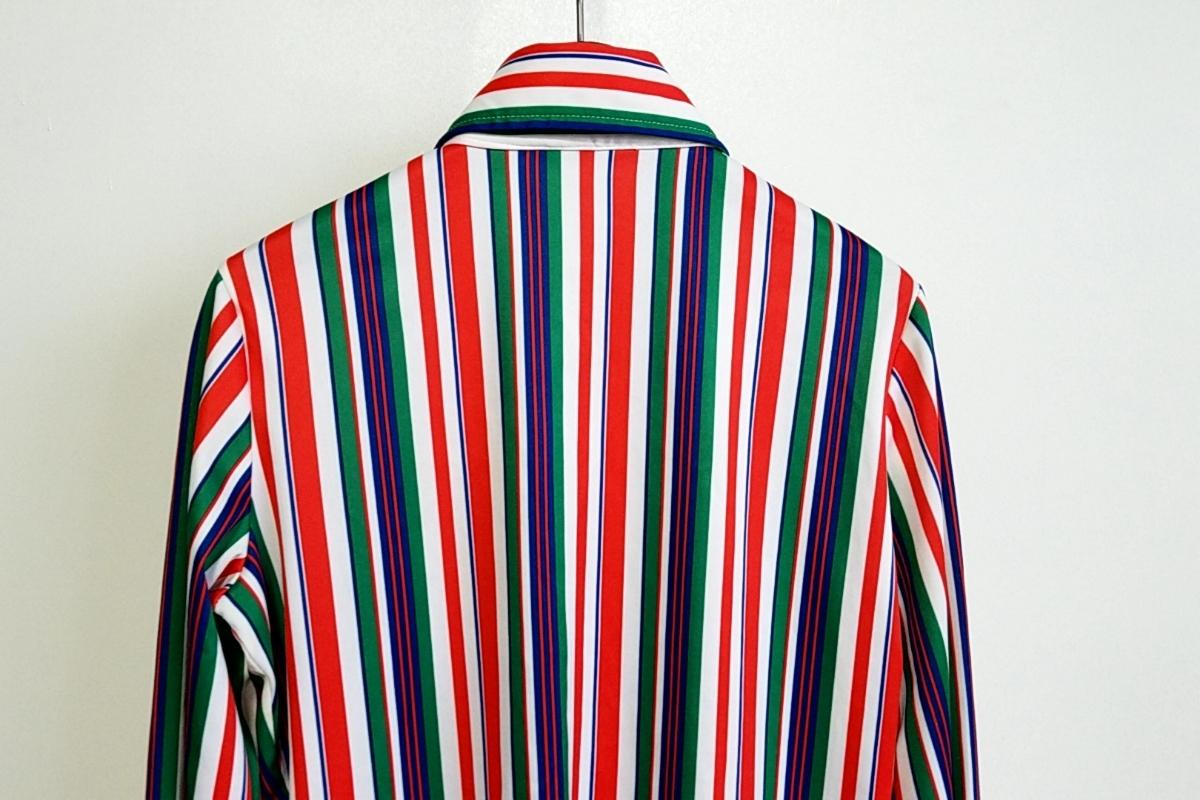 T05★【送料無料】70s JACK WINTER 長袖 ポリシャツ ストライプ 赤 白 青 緑 vintage ヴィンテージ 古着 USED 中古 0001_画像5