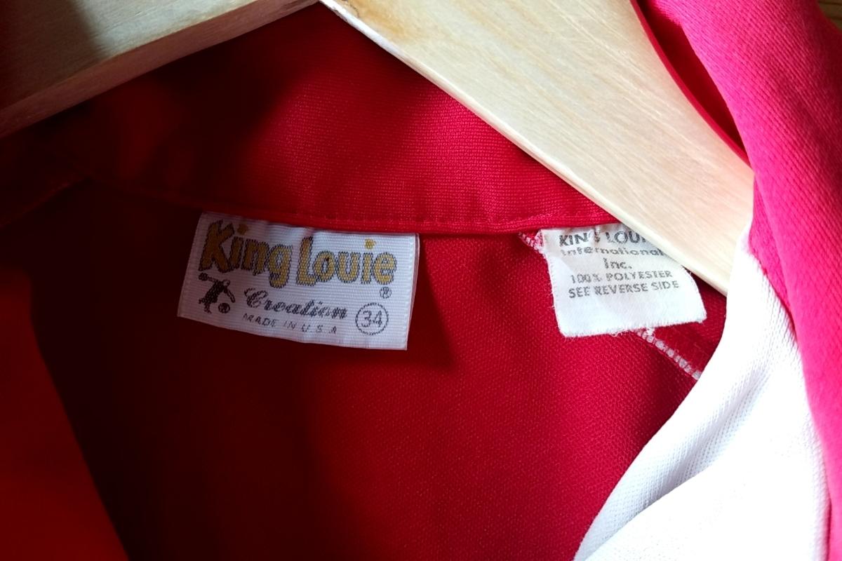 T13★【送料無料】USA製 キングルイ King Louie プルオーバー 半袖シャツ 34 赤 レッド vintage ヴィンテージ 古着 USED 中古 0001_画像7