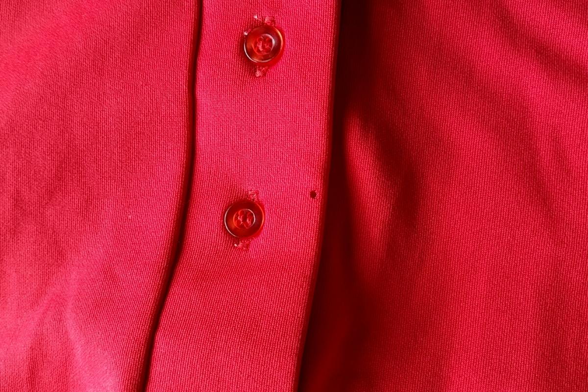 T13★【送料無料】USA製 キングルイ King Louie プルオーバー 半袖シャツ 34 赤 レッド vintage ヴィンテージ 古着 USED 中古 0001_画像8