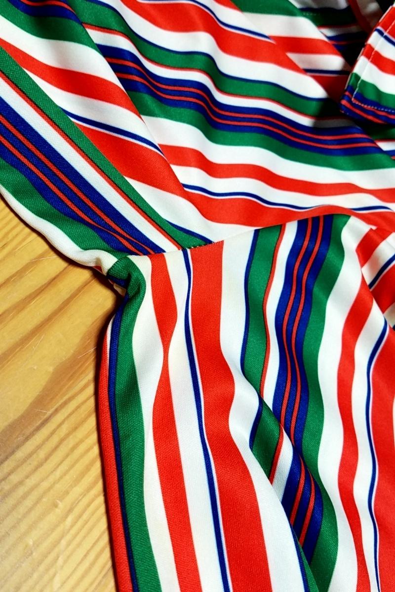 T05★【送料無料】70s JACK WINTER 長袖 ポリシャツ ストライプ 赤 白 青 緑 vintage ヴィンテージ 古着 USED 中古 0001_画像8