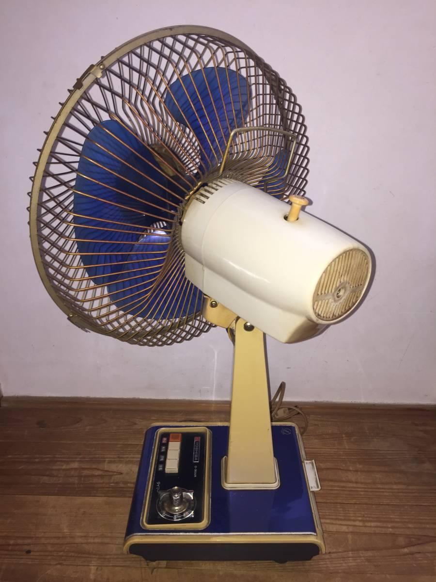 東芝 卓上扇風機 D-30AR 動作品 昭和レトロ 1975年製 4枚羽 青 アンティーク _画像3