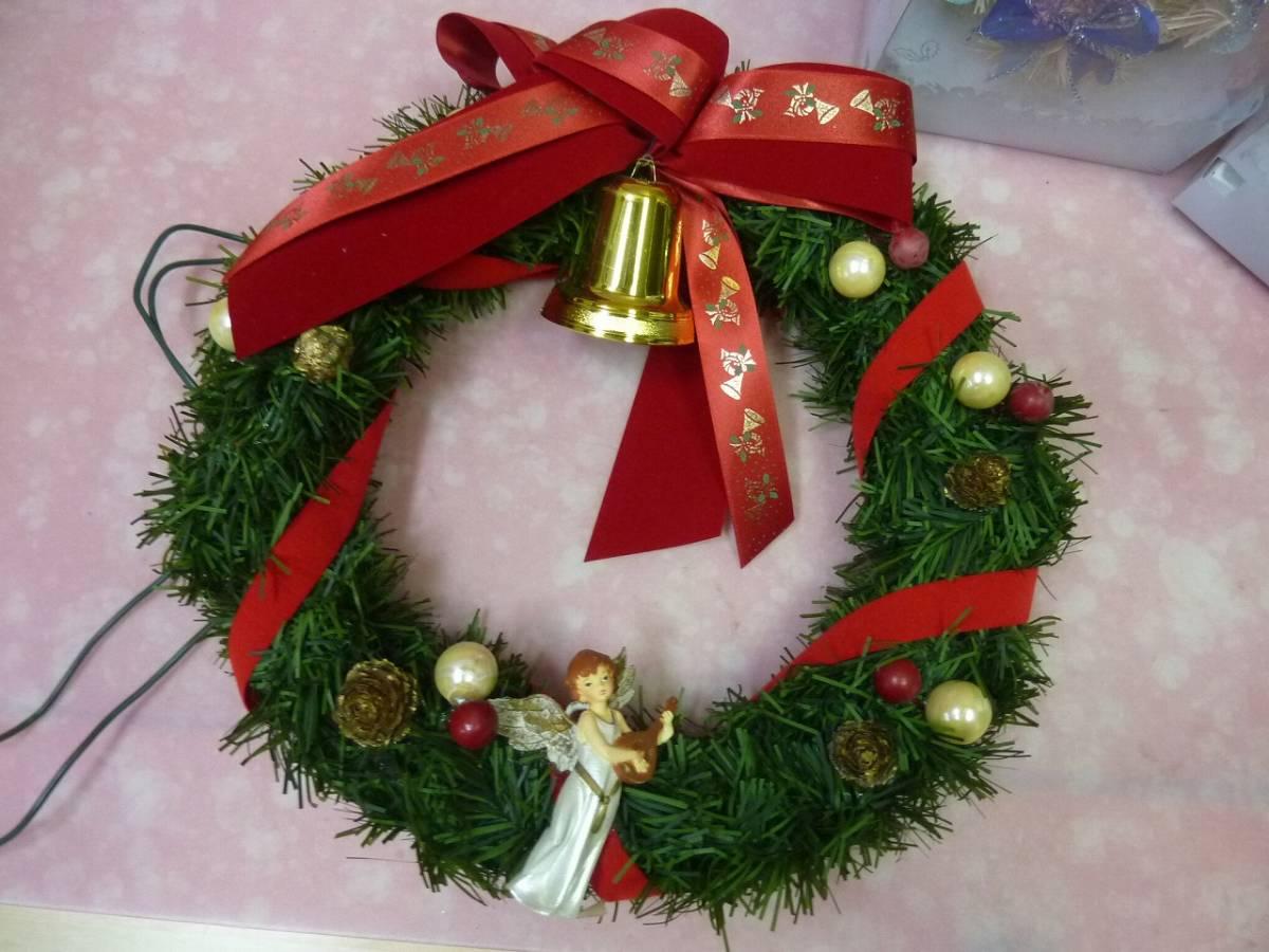 クリスマスツリー 飾り クリスマスリース(径31㎝)_点灯しません。ジャンク品です。