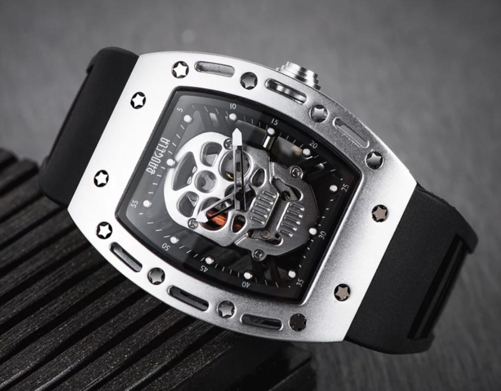日本未入荷 時計 リシャールミル 好きにおすすめ 機械式 スケルトン メンズ シルバー