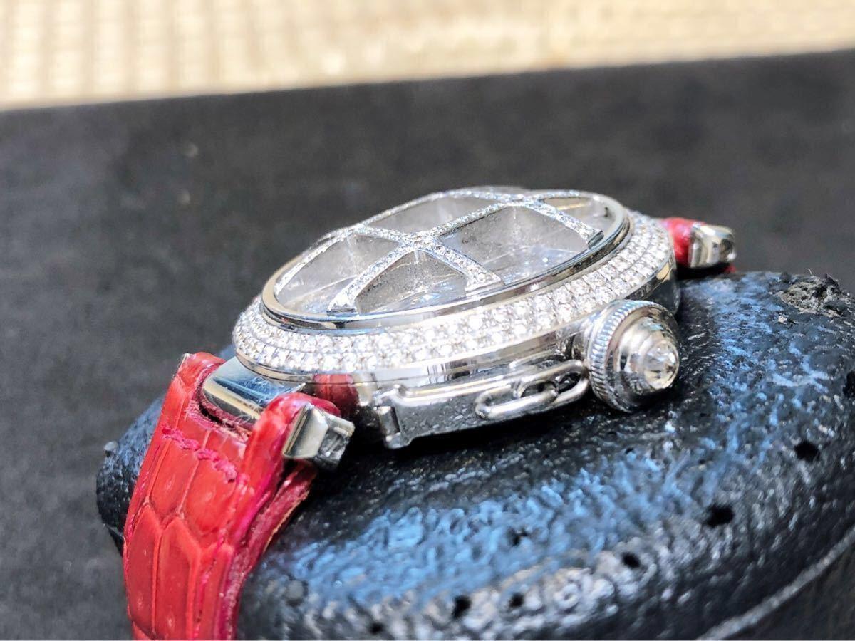 カルティエ パシャ38mm ベゼル全面ダイヤ 中古美品_画像2