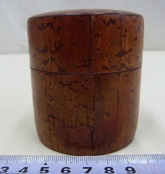 小柳金太郎造 樺細工茶筒 共箱 名人作の貴重な逸品です。送料無料/手工芸品/茶器/茶道具_画像4