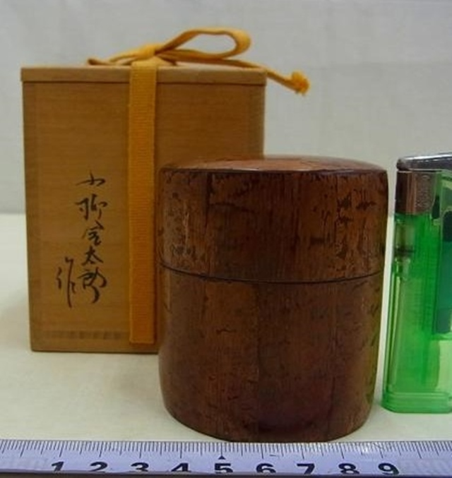 小柳金太郎造 樺細工茶筒 共箱 名人作の貴重な逸品です。送料無料/手工芸品/茶器/茶道具_画像1
