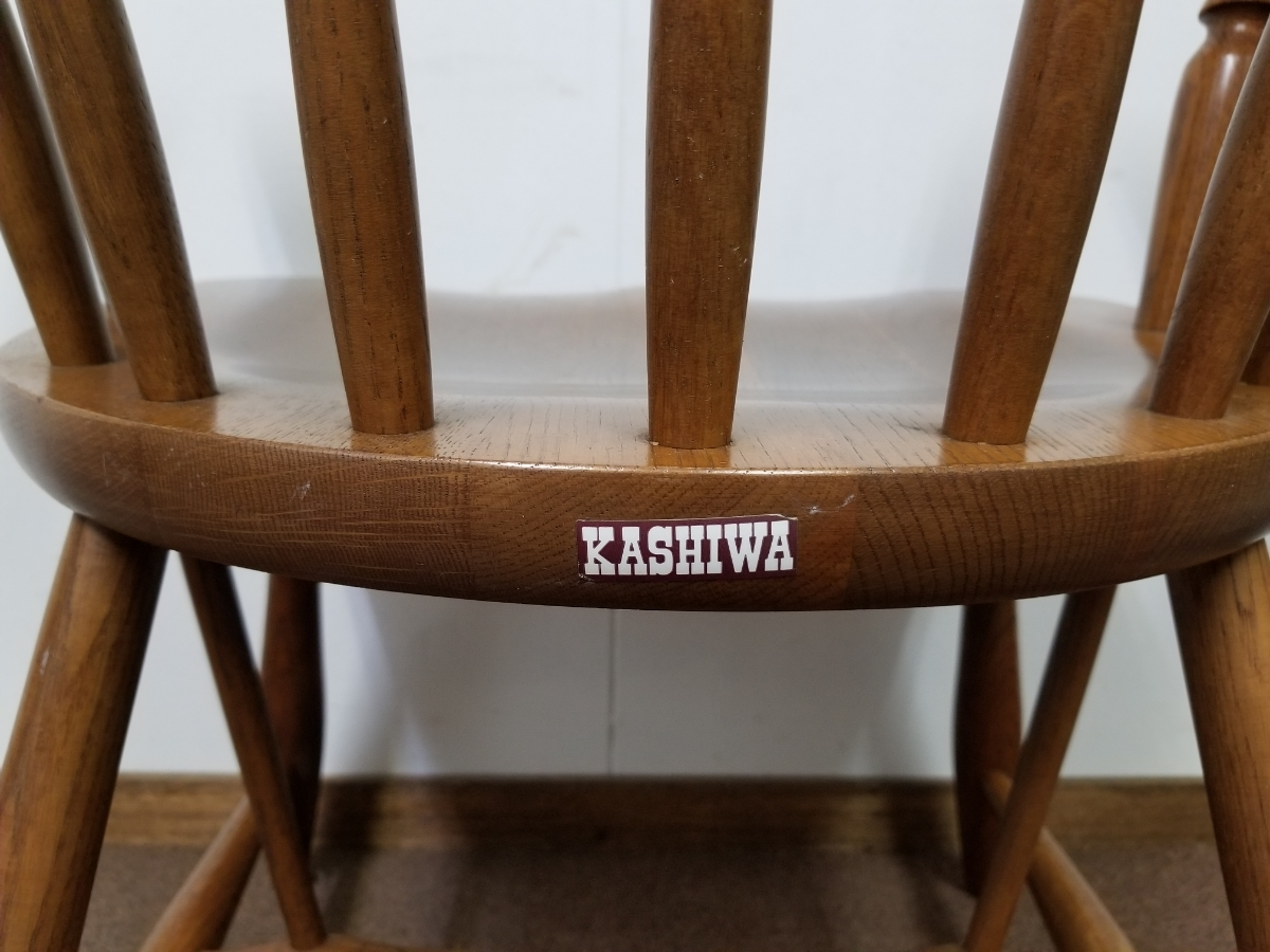 ■柏木工 kashiwa オーク 無垢材 アームチェア② 飛騨家具 ビンテージ ウィンザーチェア キャプテンチェア 英国風 木製椅子 ダイニング■_画像5