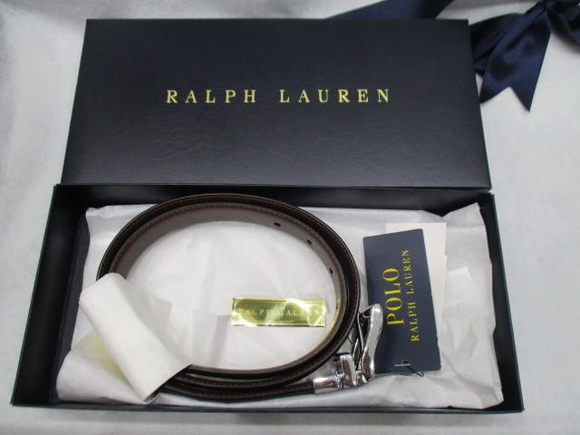 1000円~ 【未使用】ラルフローレン Lauren Ralph Lauren 牛革 メンズ ベルト リバーシブル ブラック×ブラウン